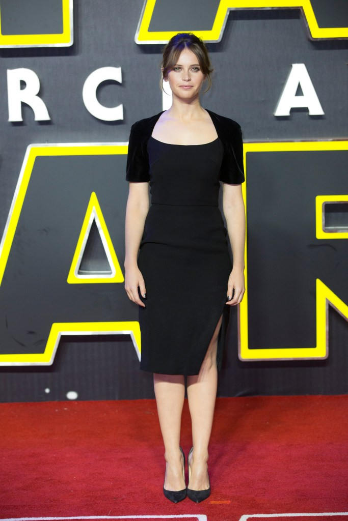 LONDON, UK - DECEMBER 16: Felicity Jones attends the European Premiere of the highly anticipated Star Wars: The Force Awakens in London on December 16, 2015.
