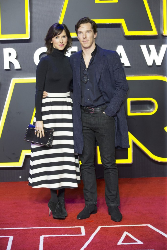 LONDON, UK - DECEMBER 16: Actor Benedict Cumberbatch and wife Sophie Hunter attend the European Premiere of the highly anticipated Star Wars: The Force Awakens in London on December 16, 2015.