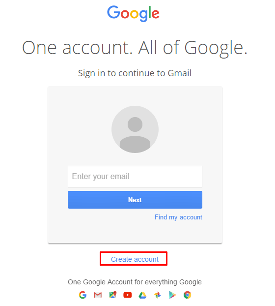 How to create a Gmail account step One