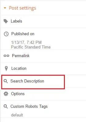 adding meta description from dashboard