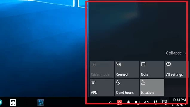 Windows-10 Central Notification Center.
