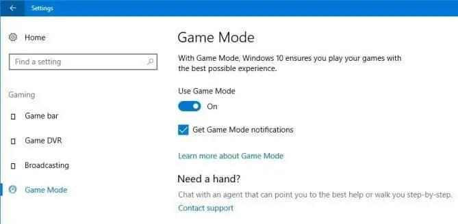 Windows-10 Game Mode