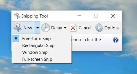 Select free-form or rectangular snip