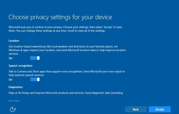 chose privacy setting for your device