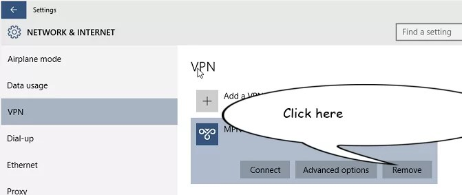on connection and remove