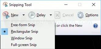 select full screen snip