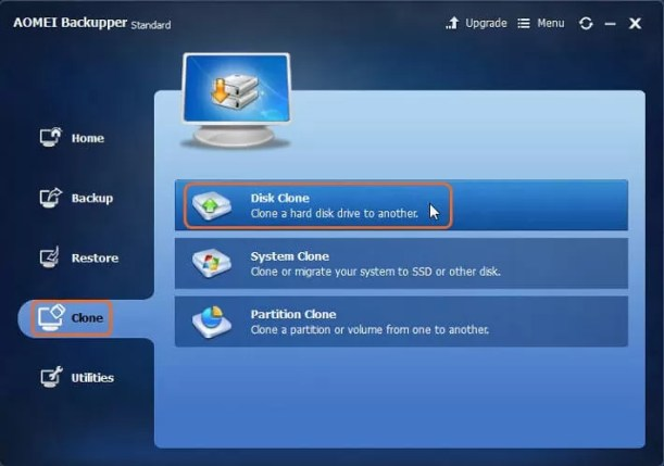click Clone and then choose Disk Clone