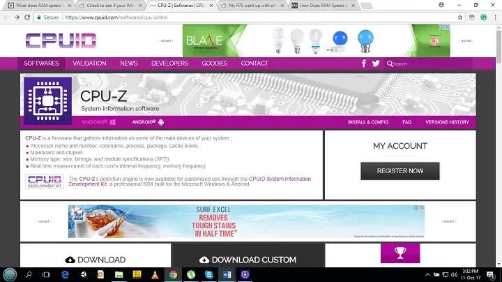 enter into the website of CPU-z