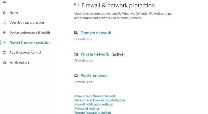 Firewall and network protection of windows 10
