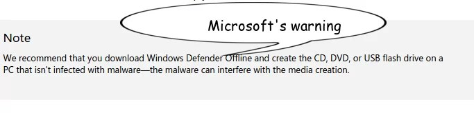 MS Warinig of Windows Defender