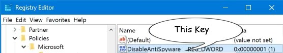 Registry Editor Windows Defender