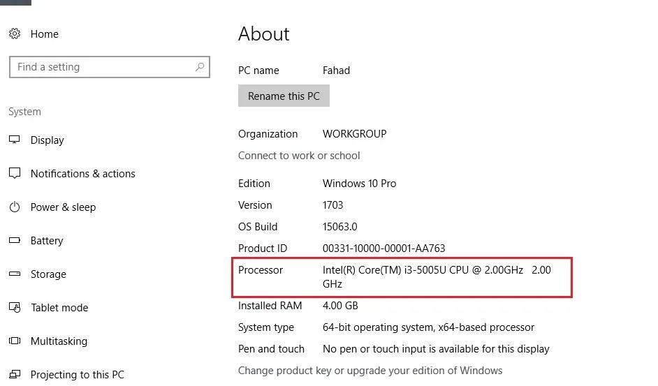 Processor Info of windows