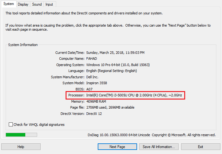 Processor Info of windows 10