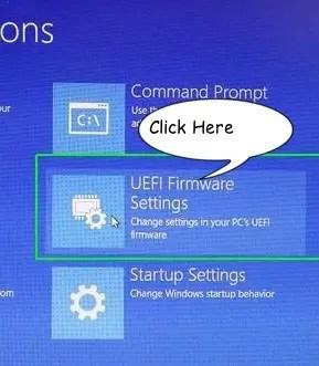 UEFI Firmware Settings of Windows 10