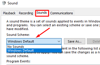 Sound Scheme of Windows 10