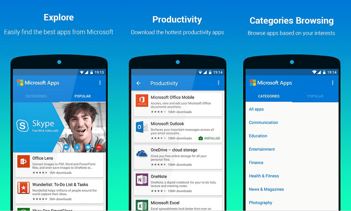 Microsoft Apps a new app by Microsoft to list all its apps in Android