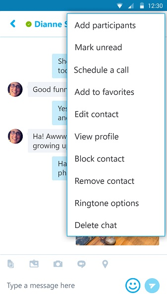 Skype in Android allows you to schedule calls and open office files