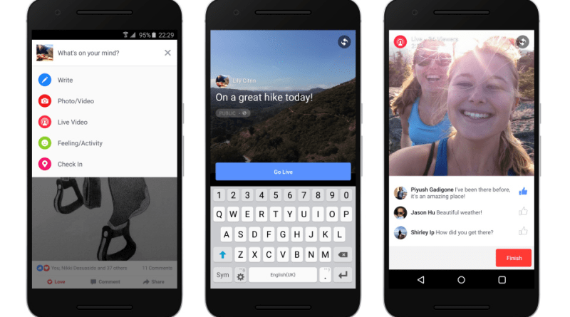 Facebook live videos feed