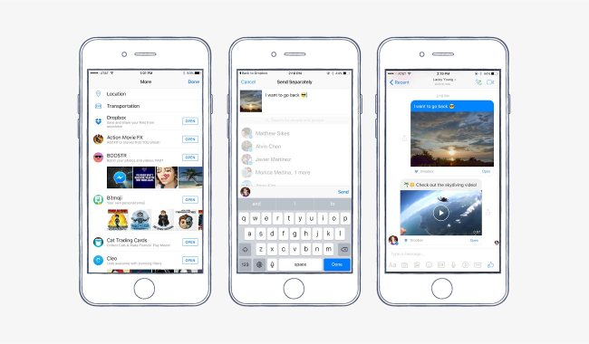 share files on Facebook Messenger