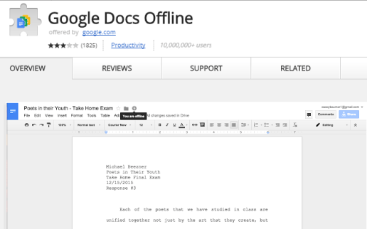 google docs offline extension