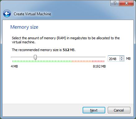 Escolher RAM máquina virtual