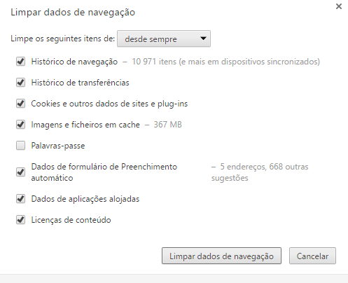 Google Chrome limpeza de cache