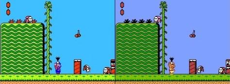 Esquerda: Super Mario | Direita: Doki Doki Panic