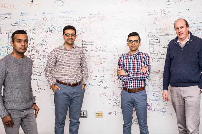 The University of Washington engineers behind the low-power, HD video-streaming system. From left to right: Shyam Gollakota, Saman Naderiparizi, Mehrdad Hessar, Joshua Smith.Dennis Wise/University of Washington