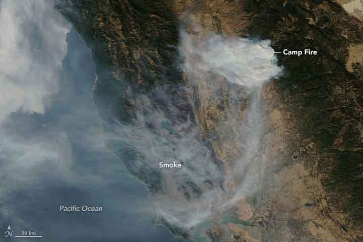 Satellites and ground sensors observe smoke blanketing California