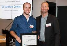 UC researcher Dr Matthew Cowan receives his Innovation Jumpstart award and WNT Ventures sponsorship worth $35,000 from Jon Sandbrook, Investment Manager at WNT Ventures.