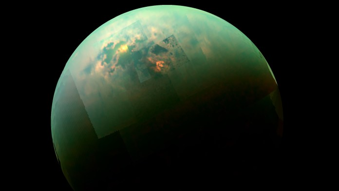This near-infrared, color view from Cassini shows the sun glinting off of Titan's north polar seas. Image credit: NASA/JPL-Caltech/Univ. Arizona/Univ. Idaho