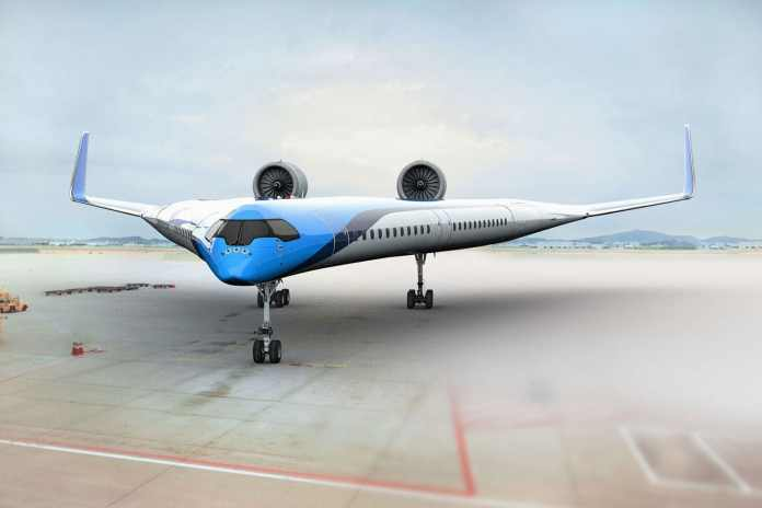 This Fuel-efficient Flying-V aeroplane seats passengers in its wings