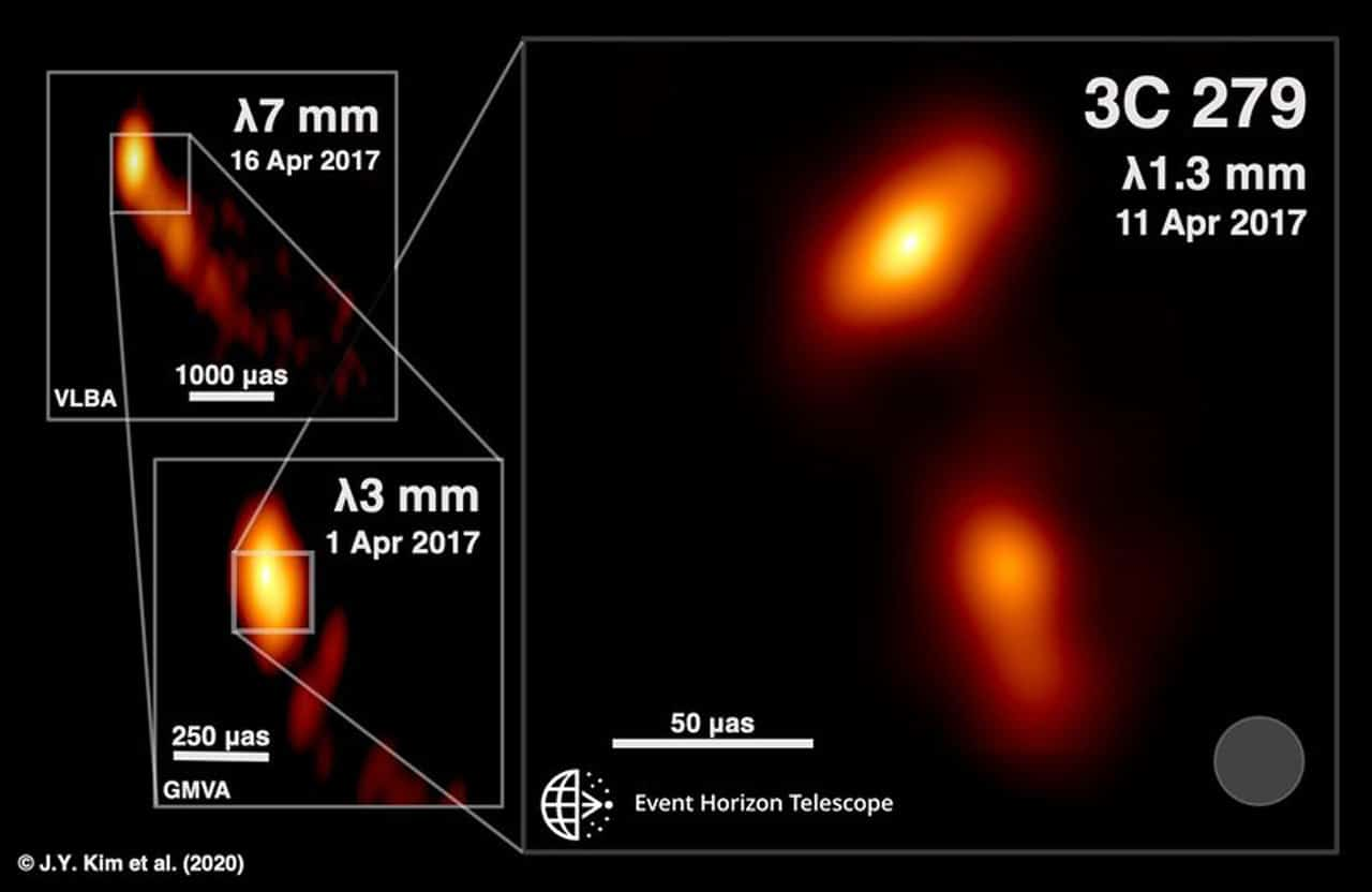 First Event Horizon Telescope Images of a Black-Hole Powered Jet