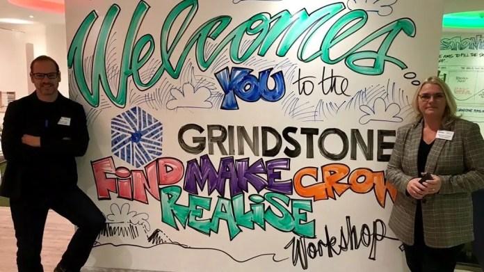 Keet van Zyl and Andrea Bohmert at Grindstone 'FIND-MAKE-GROW-REALISE' workshop.