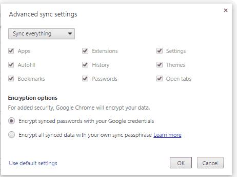 Google Chrome Advance Sync Setting