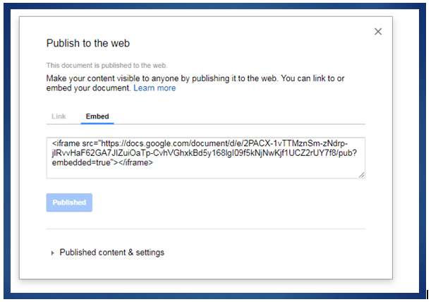 Embed Google Doc on the Web