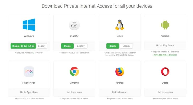 PIA VPN Supported Devices