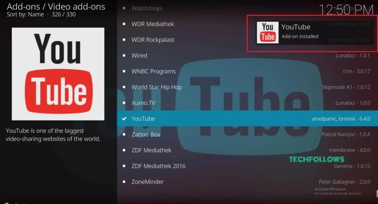 YouTube on Kodi