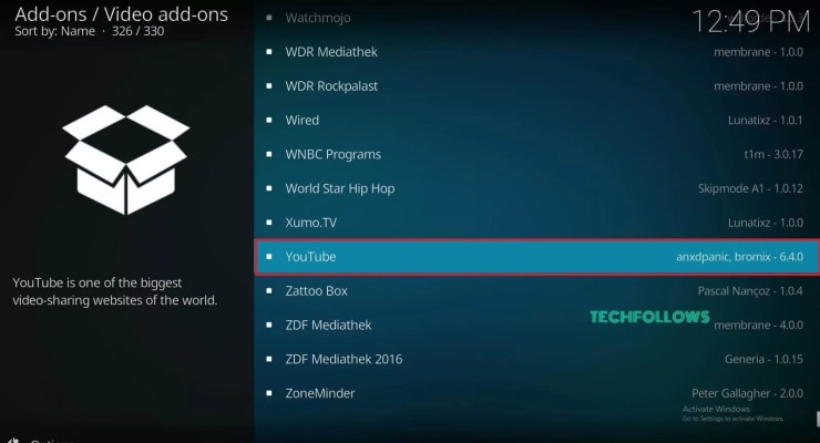YouTube Kodi Addon