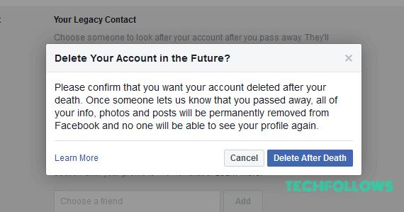 Delete Facebook Account after death