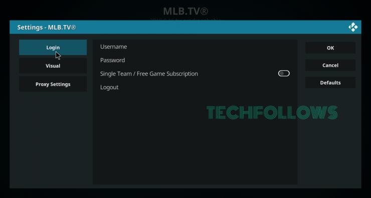 Login your MLB.TV Credentials