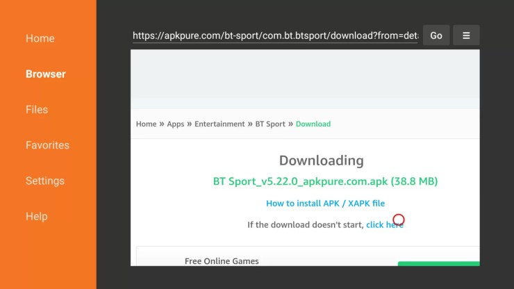 Install BT Sport on Firestick