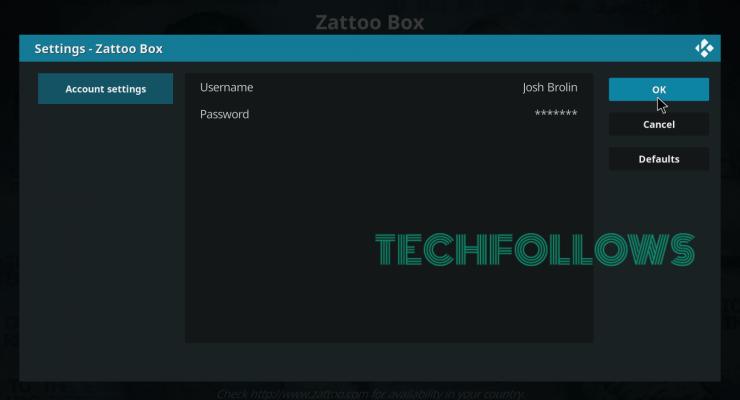 setup Zattoo Box Kodi Addon