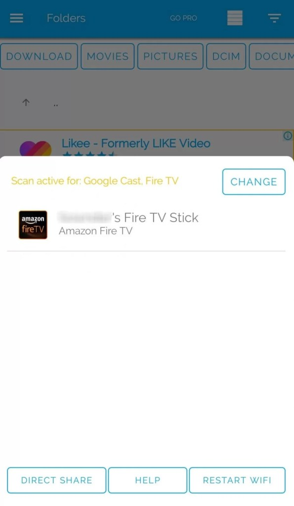 Select the Fire TV Device