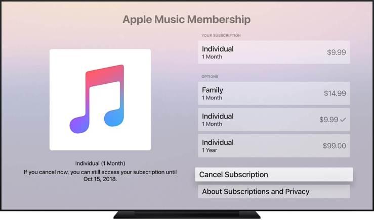 Cancel Apple Music Subscription on Apple TV