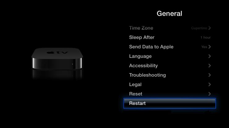 Reboot Apple tv