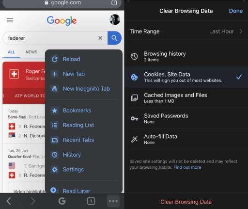 Clear Google Chrome Cache on iOS