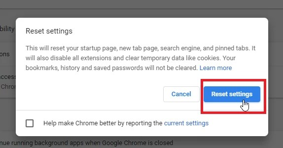 Reset Google Chrome Browser on Windows