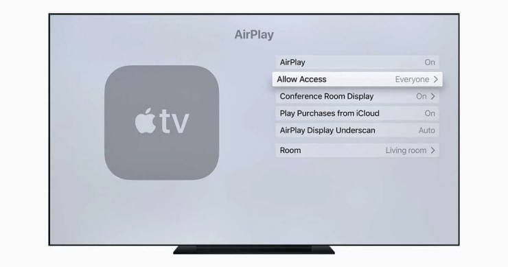 Enable Airplay Access on Apple TV