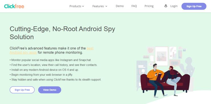 clickfree android spy